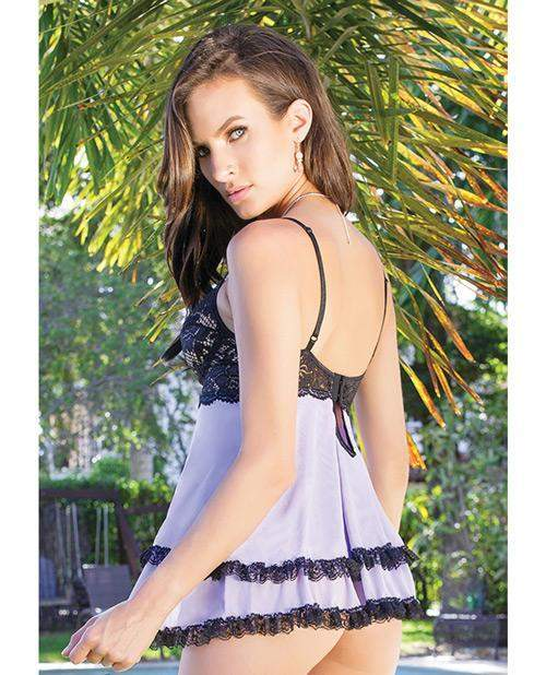 Scalloped Stretch Lace and Mesh Babydoll-lingerie-Coquette-small-black/lilac-Nakees