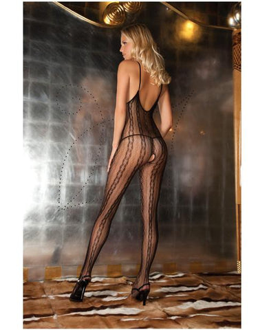 Seductive Lace Crotchless Bodystocking-lingerie-Rene Rofe-black-one size-Nakees