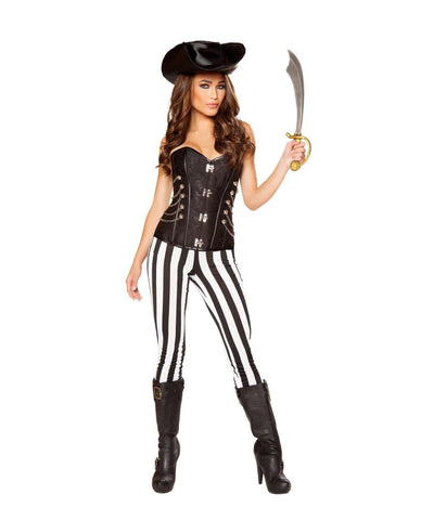 Seven Seas Pirate Hottie-Costumes-Roma Costume-Large-Black/White-Nakees