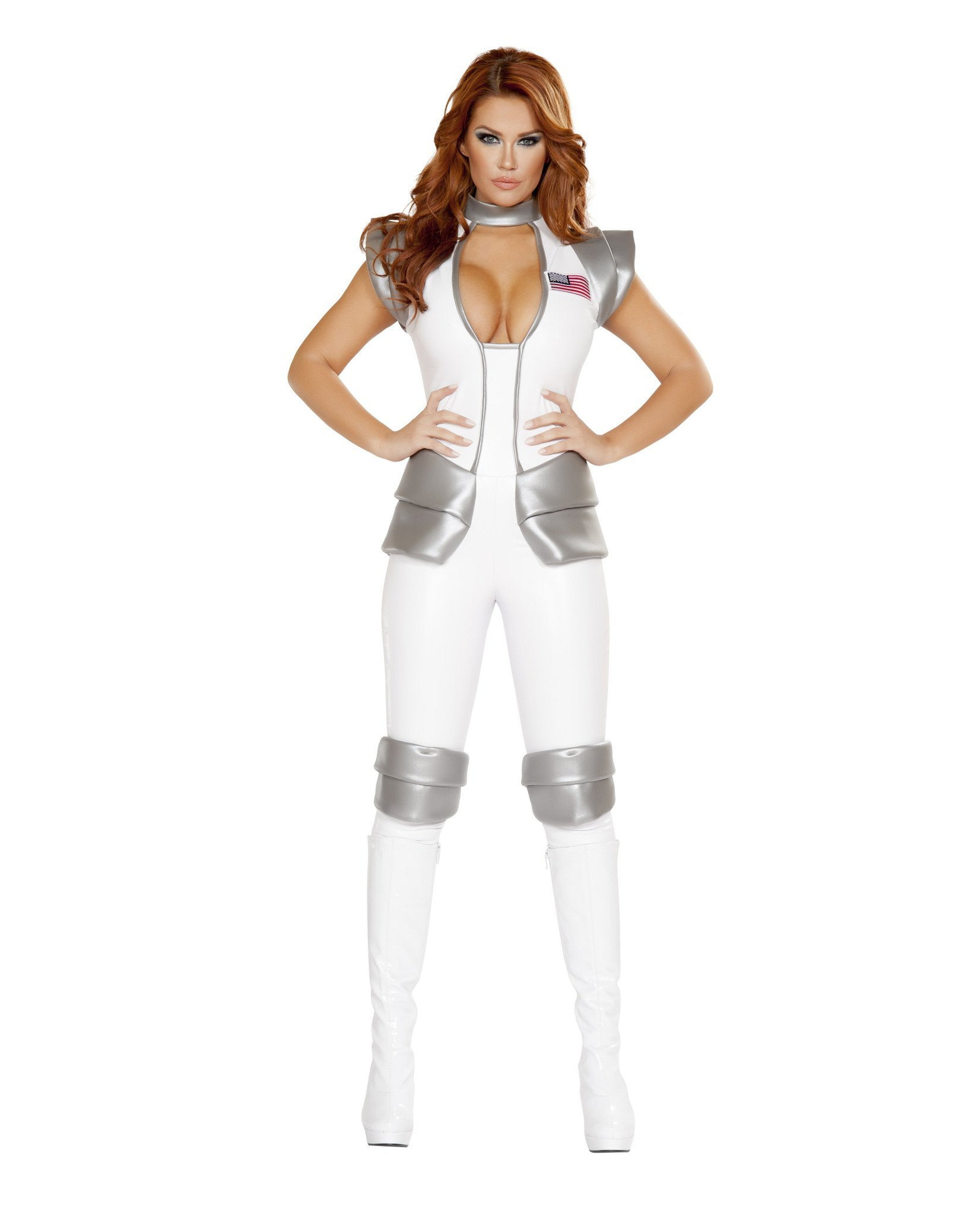 Sexy Astronaut Commander costumes Size LargeColor White/GreyNakees