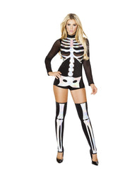 Sexy Skeleton-Costumes-Roma Costume-M/L-Black/Silver-Nakees