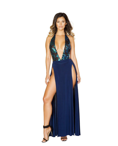 Sheer and Sequin Applique Romper and High Slit Skirt women color Navy Blue/Black Size Large Nakees