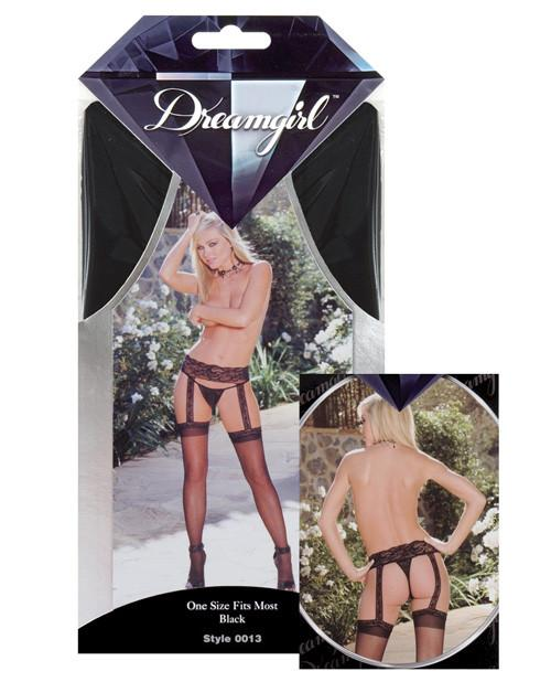 Sheer Garter Belt with Attached Thigh Highs lingerie size one sizecolor blackNakees