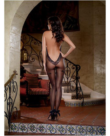 Sheer Halter Bodystocking with Lace Trim lingerie size one size color black Nakees