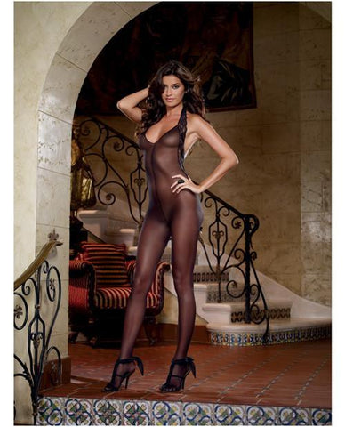 Sheer Halter Bodystocking with Lace Trim-lingerie-Dreamgirl-one size-black-Nakees
