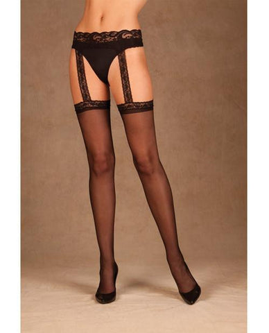 Sheer Thigh Highs with Attached Lace Garter Belt-lingerie-Elegant Moments-black-one size-Nakees