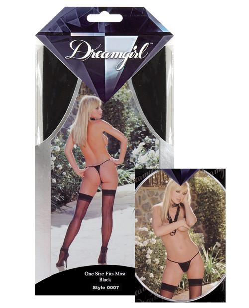 Sheer Thigh Highs with Back seam lingerie size one sizecolor blackNakees