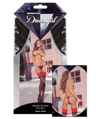 Sheer Thigh Highs with Contrasting Lace Top-lingerie-Dreamgirl-black w/red-one size-Nakees