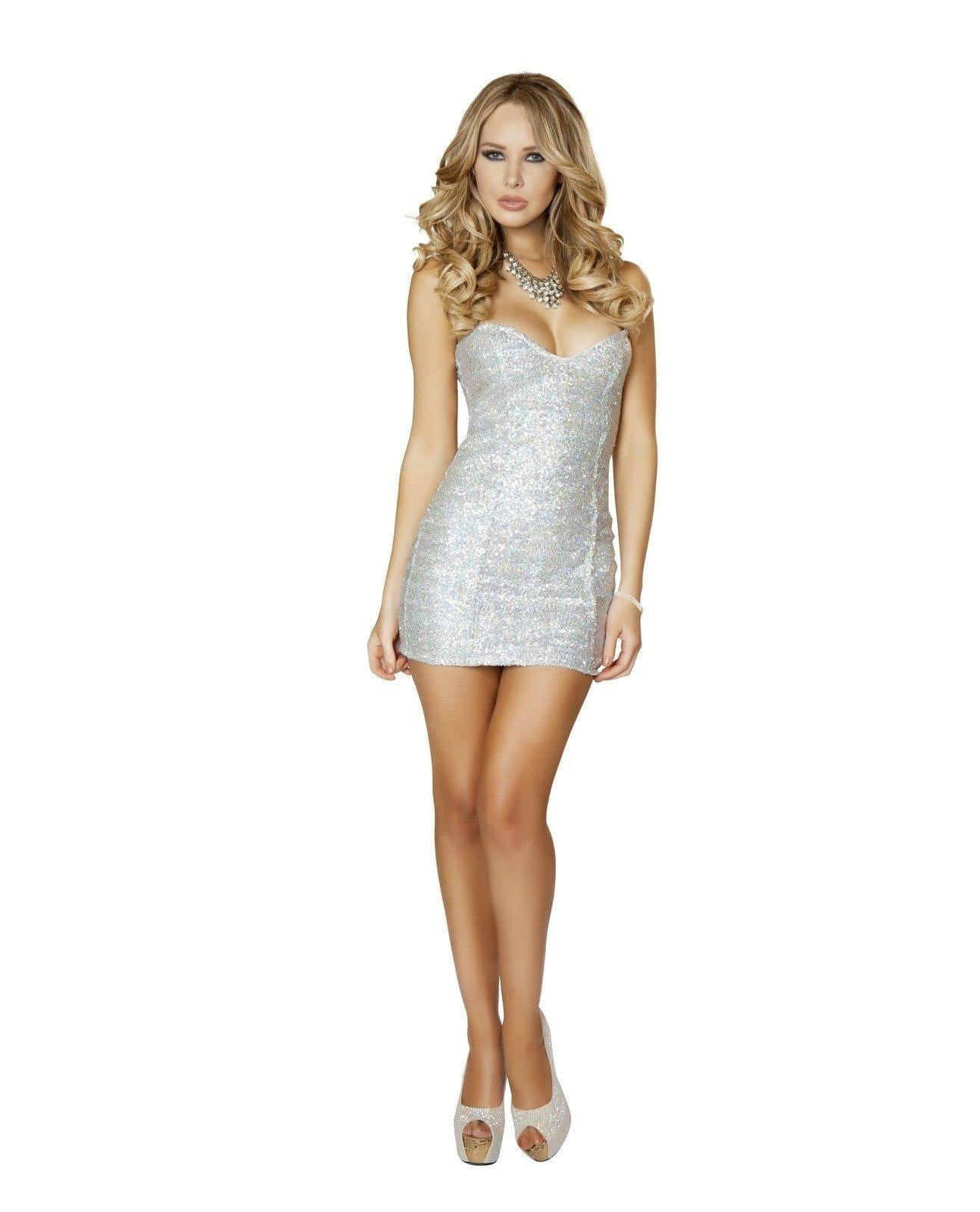 Silver Sequin Mini Dress-club wear-Roma Costume-silver-small-Nakees