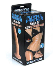 "Skinsations Playful Partner 8"" Strap On Dildo w/Harness-dildo-Skinsations-Nakees"