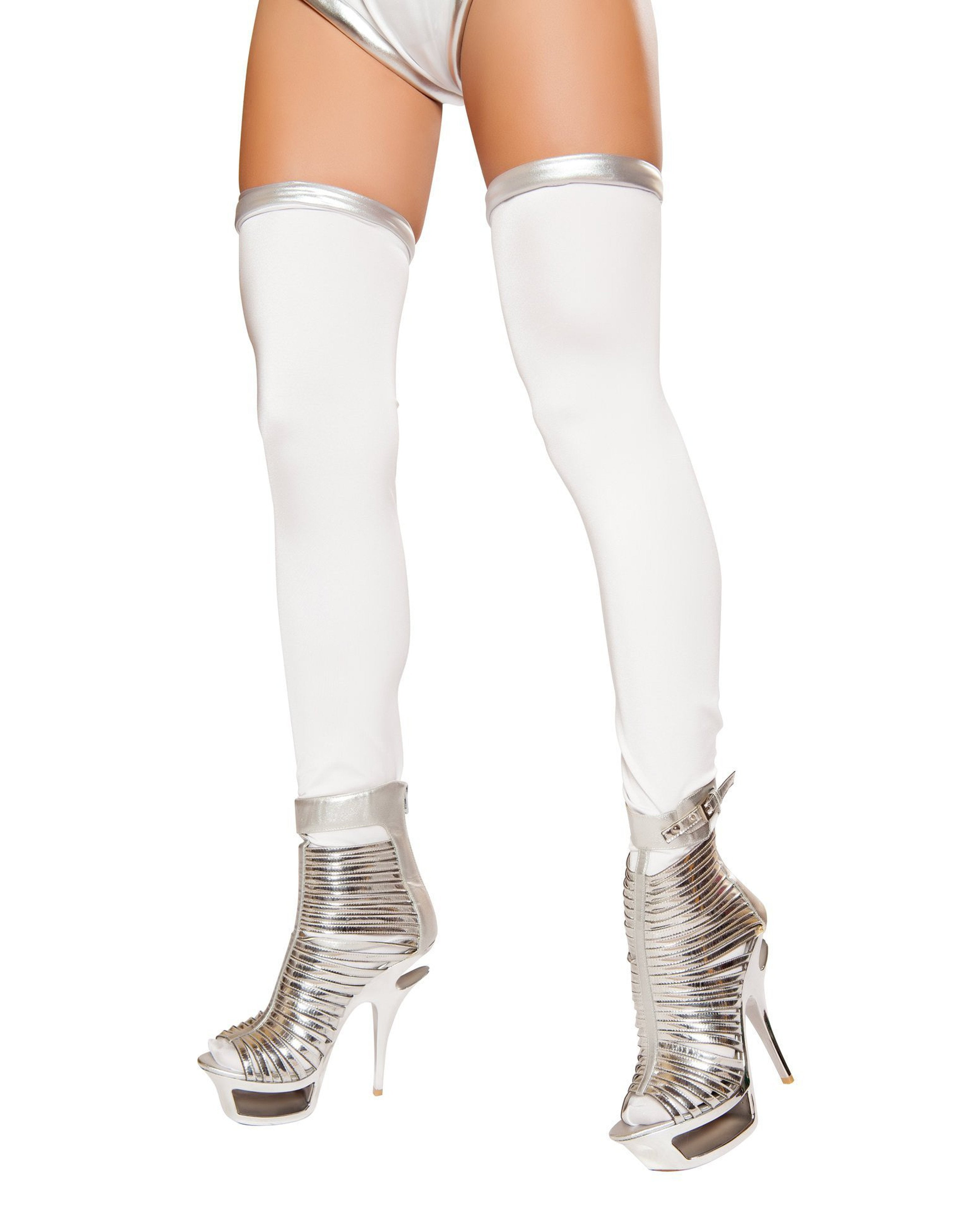 Space Commander Leggings costumes Size One SizeColor White/SilverNakees