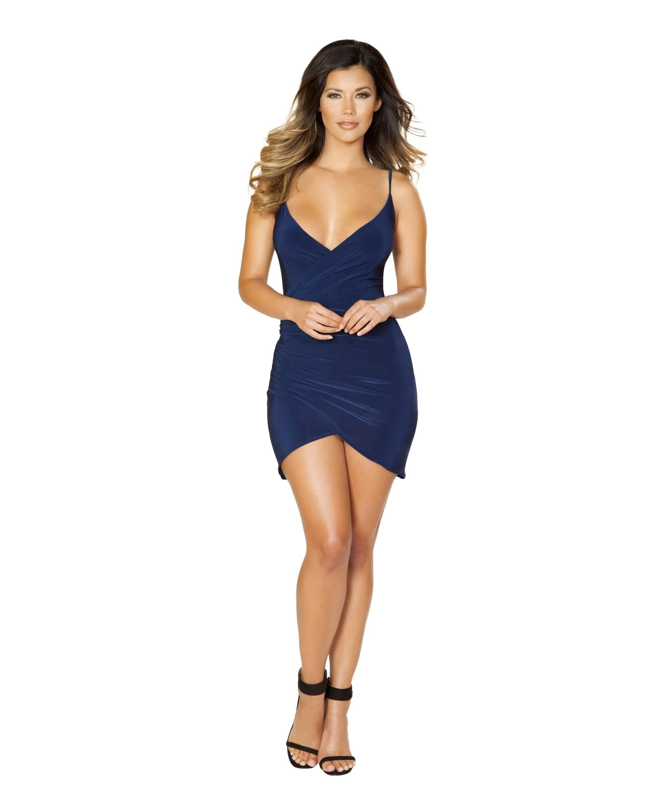Spaghetti Strap Dress with Overlapping Front club wear Size smallcolor blueNakees