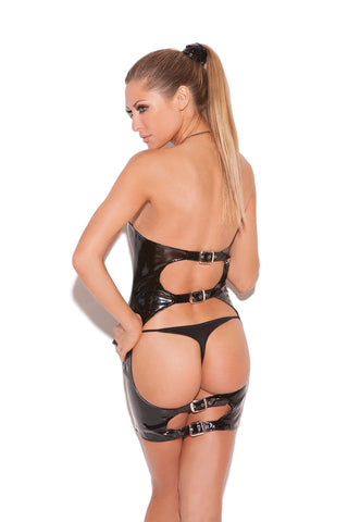 Spanking Vinyl Mini Dress with Buckles-lingerie-Elegant Moments-small-black-Nakees