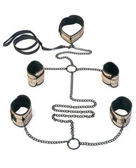 Spartacus Faux Leather Collar to Wrist & Ankle Restraints Bondage Kit with Leash-sex toys-Spartacus-gold-Nakees