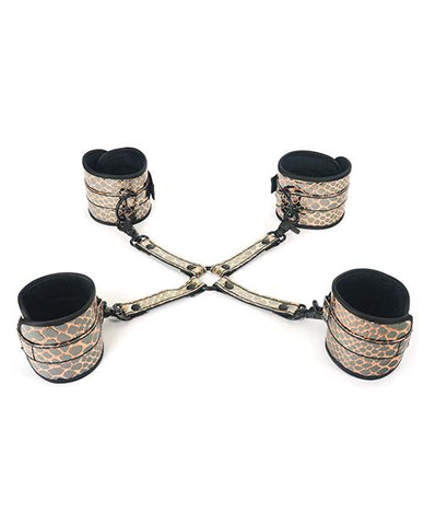 Spartacus Faux Leather Wrist & Ankle Restraints with Hog Tie-sex toys-Spareparts-gold-Nakees