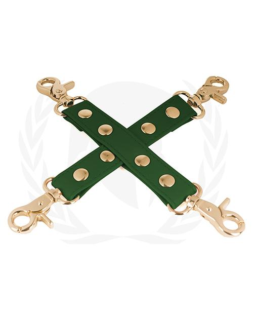Spartacus PU Hog Tie with Gold Hardware-sex toys-Spartacus-green-Nakees