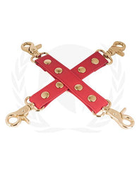 Spartacus PU Hog Tie with Gold Hardware-sex toys-Spartacus-red-Nakees