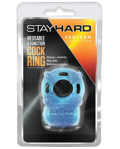 Stay Hard Vibrating Reusable Cock Ring men color blue  Nakees