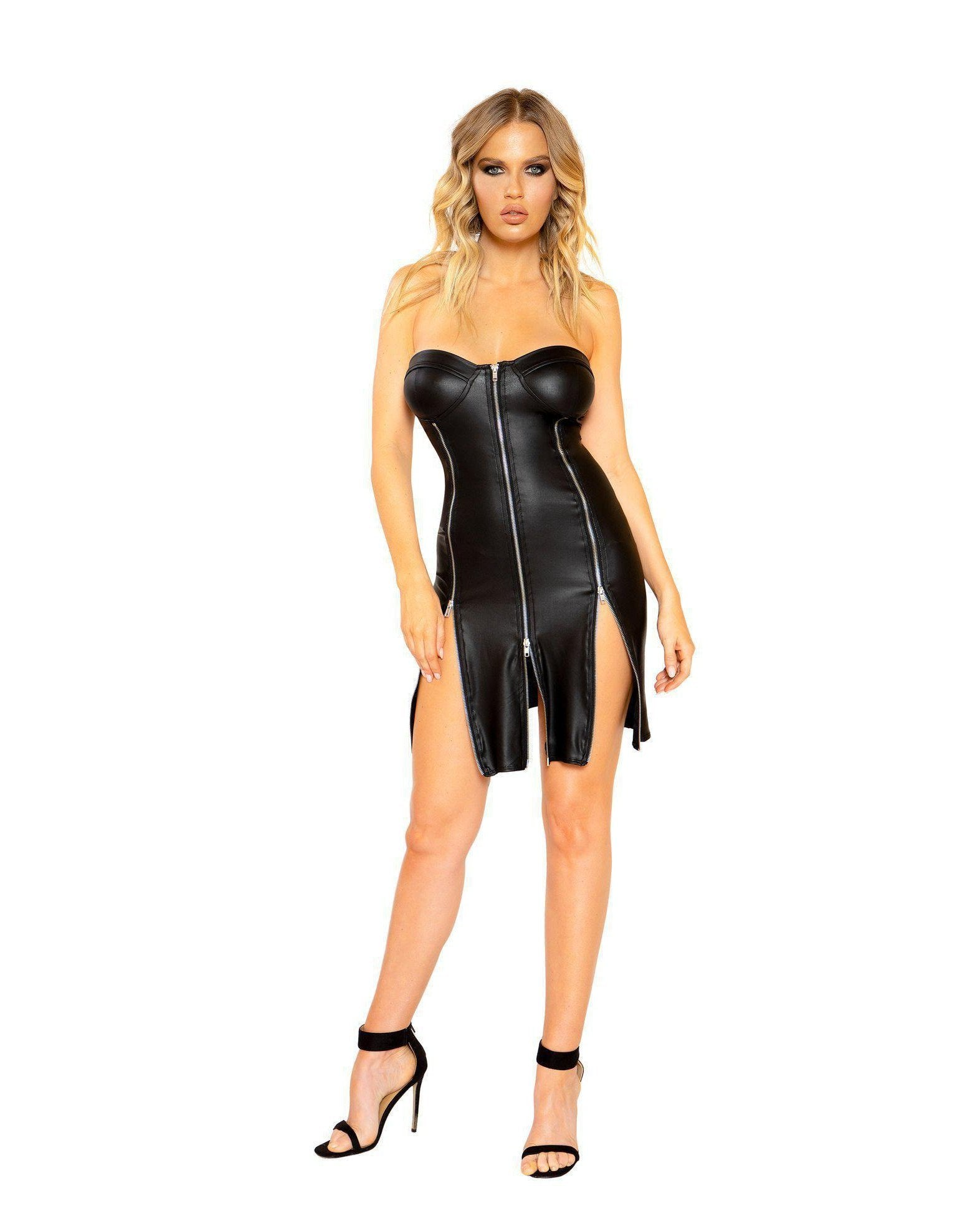 Strapless Leather Look Dress with Triple Zipper Detail club wear Size SmallColor BlackNakees