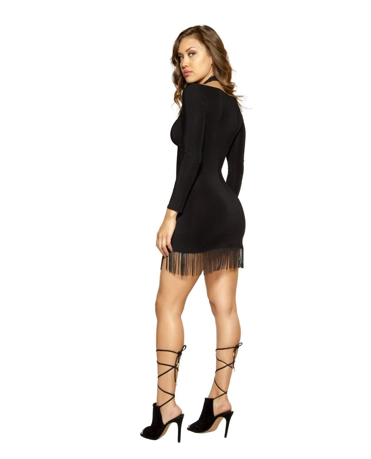 Strappy Dress with Hanging Fringe-club wear-Roma Costume-Nakees
