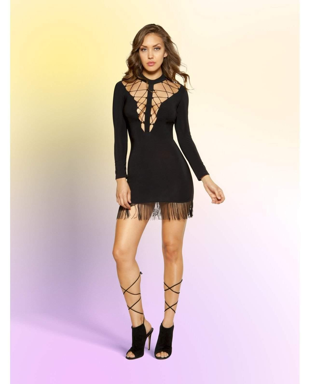 Strappy Dress with Hanging Fringe-club wear-Roma Costume-Small-Black-Nakees