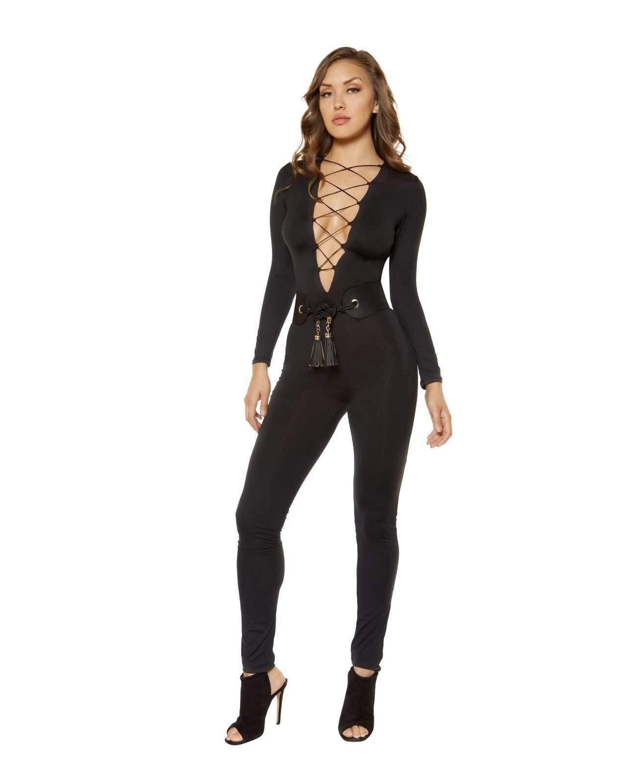 Strappy Lace-up Jumpsuit Rompers Size SmallColor BlackNakees