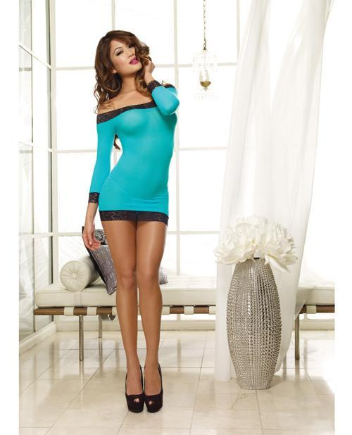 Stretch Mesh 3/4 Length Sleeved Off the Shoulder Tunic and Thong-lingerie-Dreamgirl-turquoise-one size-Nakees