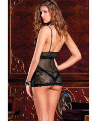 Stretch Satin and Lace Garter Chemise-lingerie-Rene Rofe-small/medium-black-Nakees