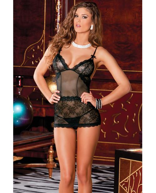 Stretch Satin and Lace Garter Chemise-lingerie-Rene Rofe-Nakees