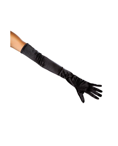 Stretch Satin Gloves-Accessories-Roma Costume-One Size-Black-Nakees