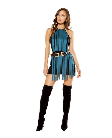 Suede Fringe Mini Dress-club wear-Roma Costume-Nakees