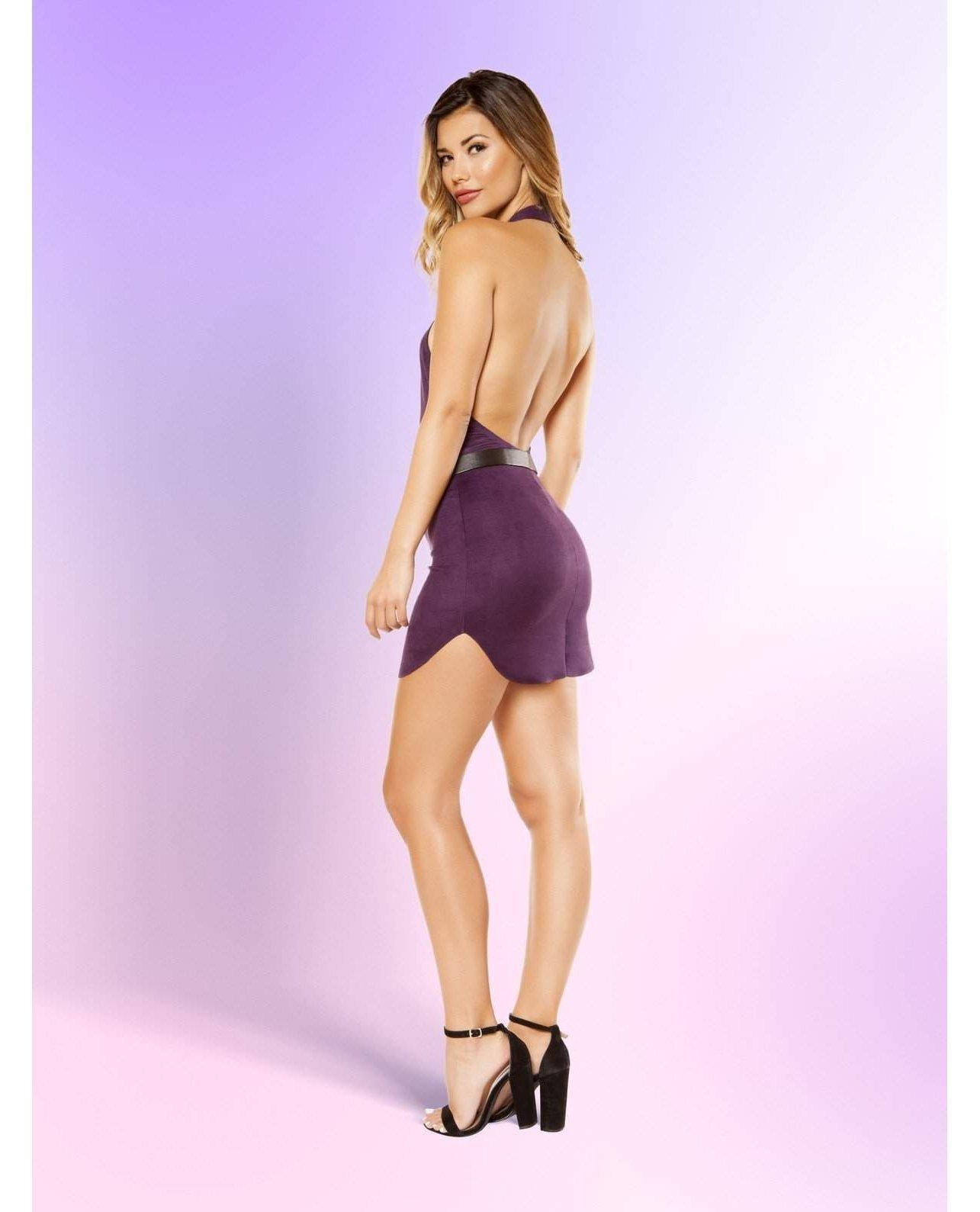 Suede Halter Neck Dress with Hook Closure-club wear-Roma Costume-Nakees