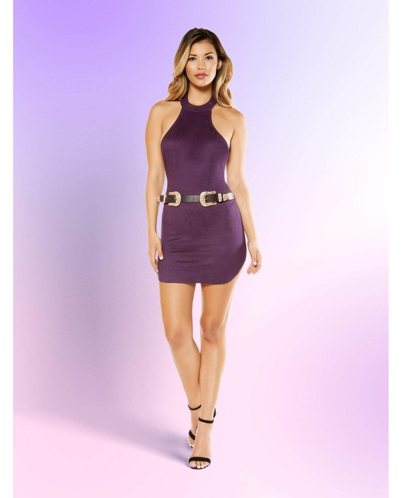 Suede Halter Neck Dress with Hook Closure-club wear-Roma Costume-small-purple-Nakees