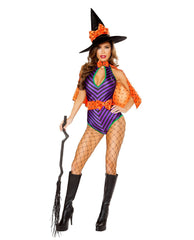 Sweet and Sexy Witch Costume-costumes-Roma Costume-Small-Purple/Black/Orange-Nakees