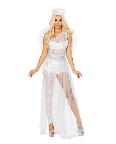 Sweet Angel Costume-Costumes-Roma Costume-Small-White/Silver-Nakees