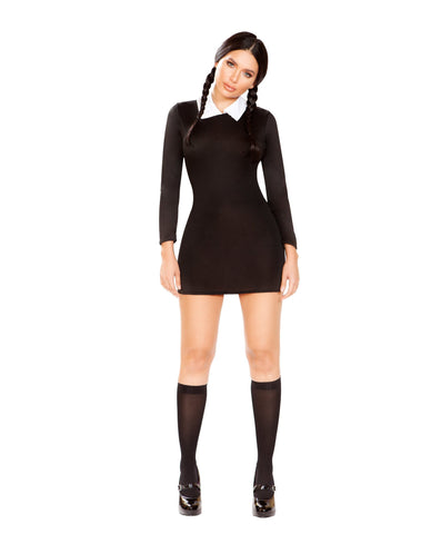 White and Black Two-Tone Low Cowl Neck Mini Dress club wear color Black-WhiteSize S/MNakees