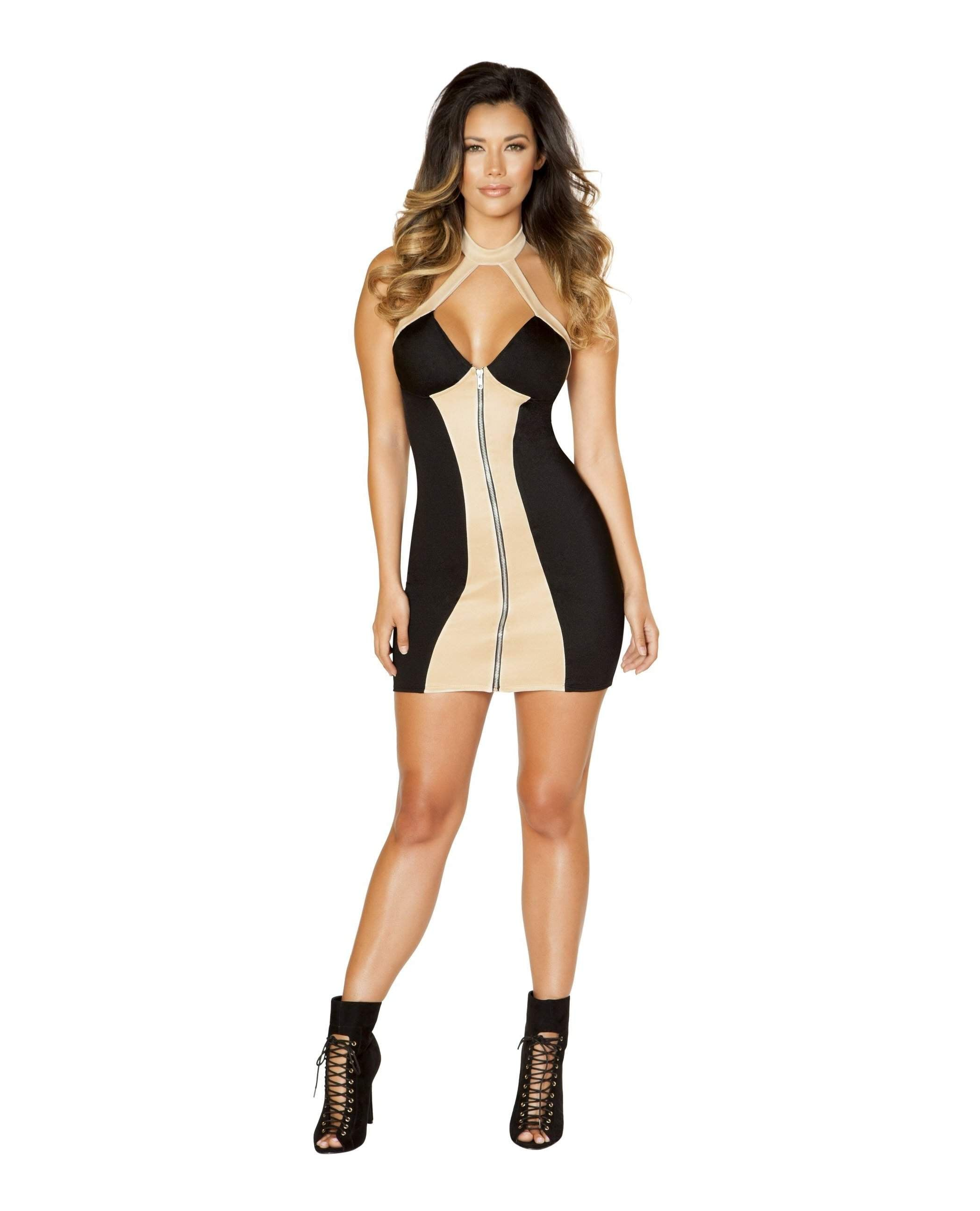 Two-Tone Zip Up Mini Dress club wear color black/nudesize smallNakees