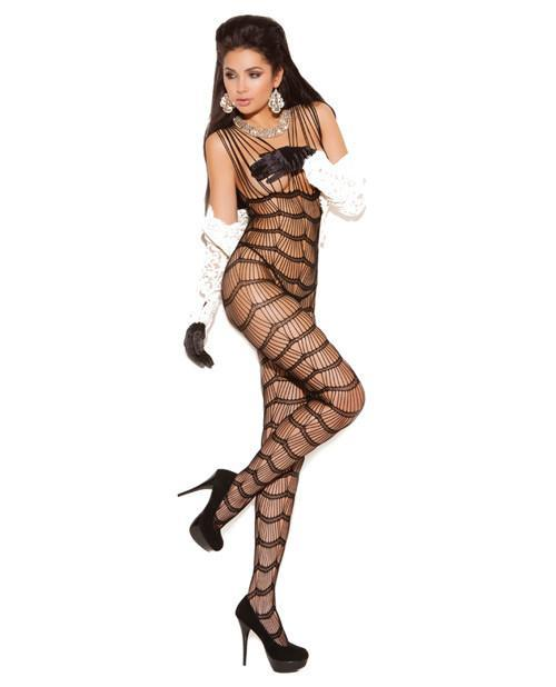 Vertical Striped Bodystocking-lingerie-Elegant Moments-one size-black-Nakees