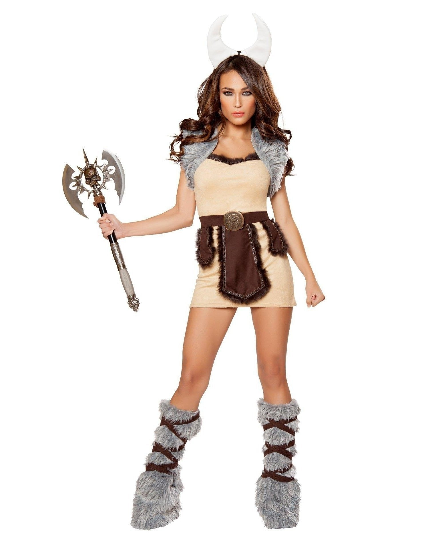 Vicious Viking Maiden Costume Costumes Size LargeColor Beige/Brown/GreyNakees