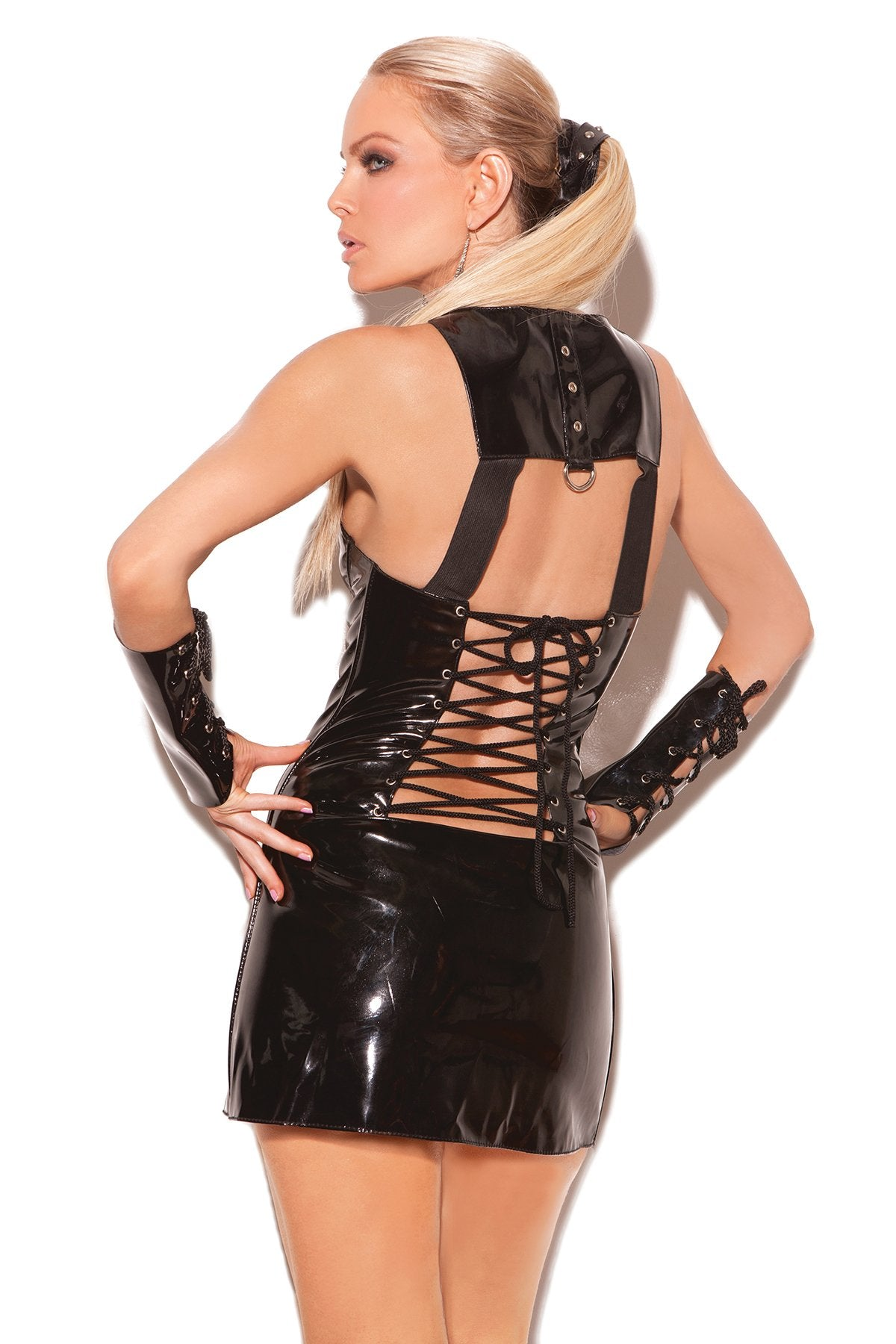 Vinyl Bondage Mini Dress with Zipper Front and D Ring club wear size smallcolor blackNakees