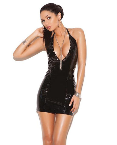 Vinyl Deep V Halter Dress with Nail Heads-club wear-Elegant Moments-small-black-Nakees