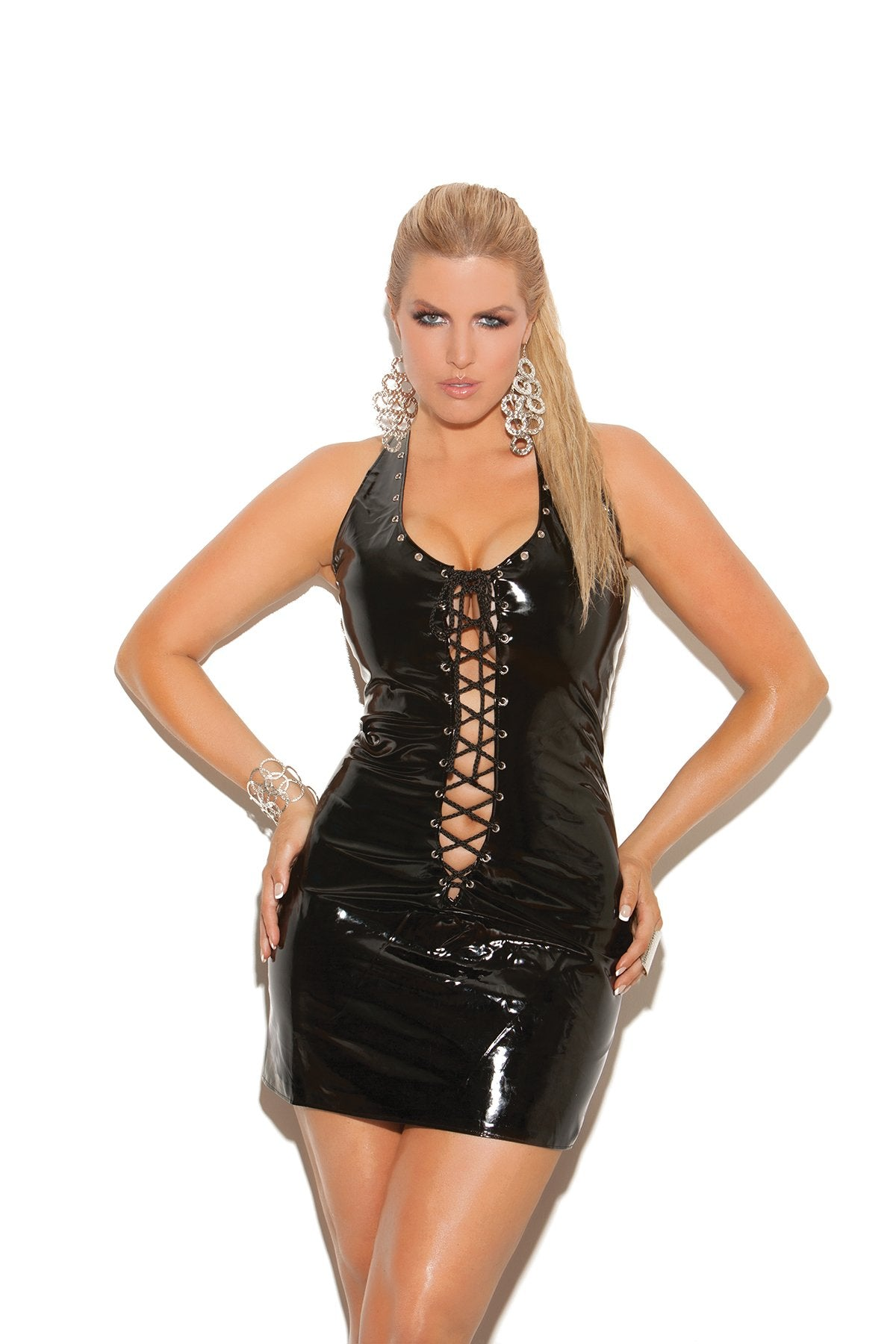 Vinyl Fetish Mini Dress with Lace Up Front and Back club wear size smallcolor blackNakees