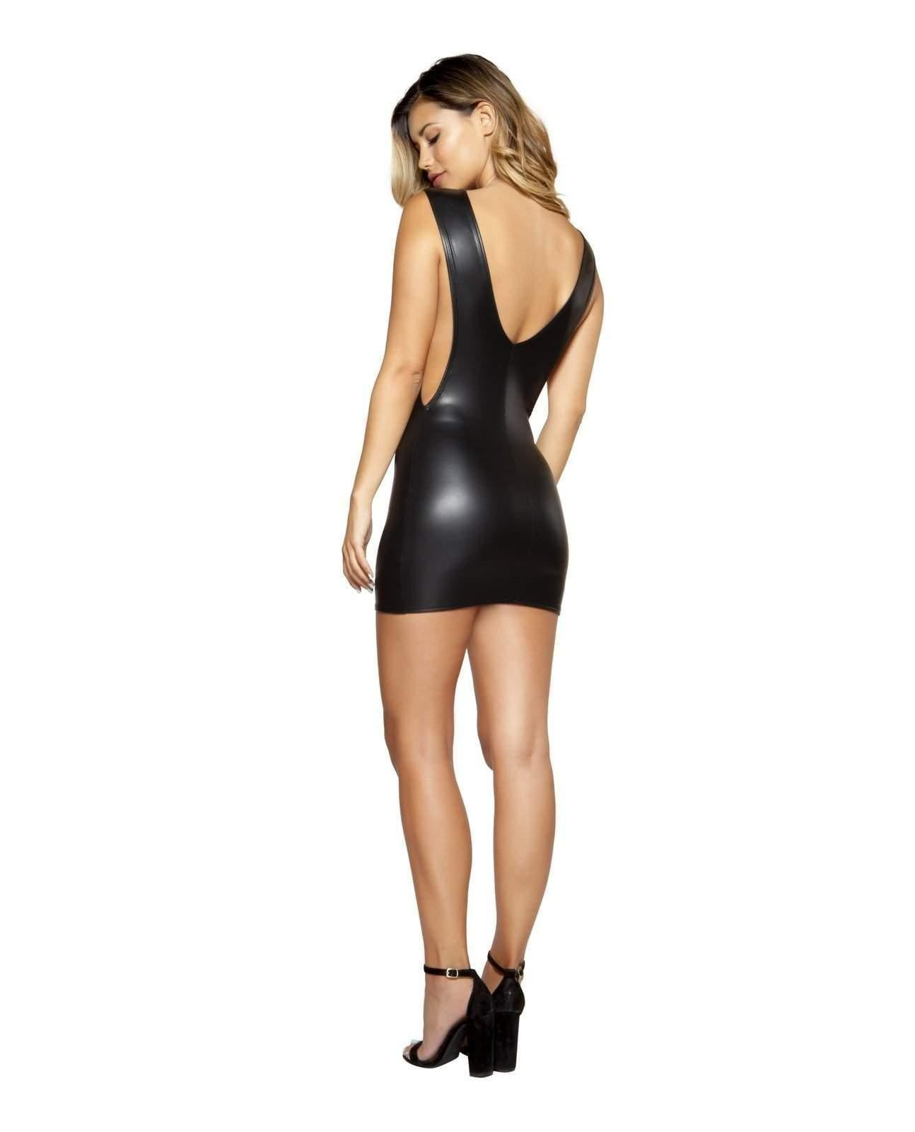 Vinyl Look Dress with Cutout Sides club wear Size SmallColor BlackNakees