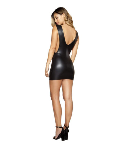 Vinyl Look Dress with Cutout Sides-club wear-Roma Costume-Nakees