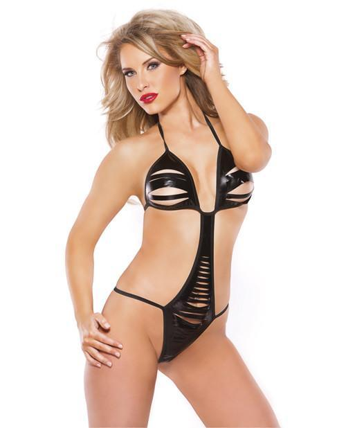 Wet Look Front Slit Teddy-lingerie-Allure-one size-black-Nakees