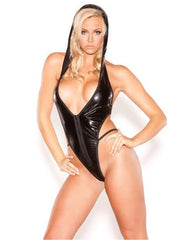 Wet Look Hooded Temptress Teddy-lingerie-Allure-one size-black-Nakees