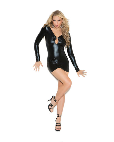 Wet Look Long Sleeve Mini Dress-club wear-Elegant Moments-small-black-Nakees