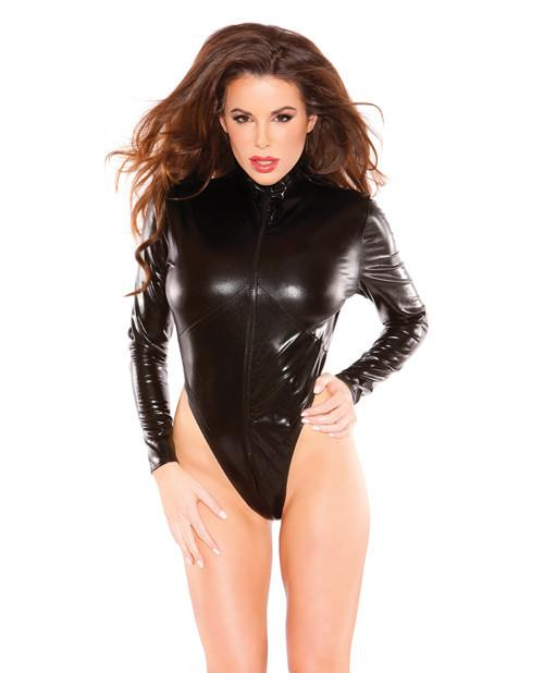 Wet Look Zipper Teddy lingerie size one size color black Nakees