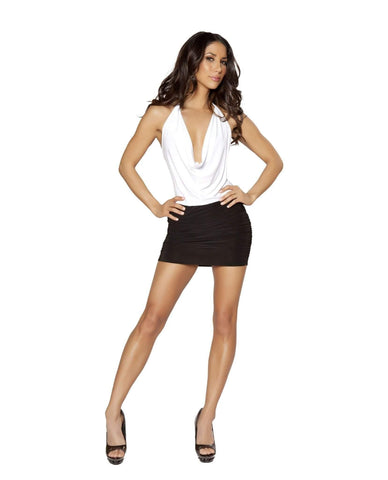 White and Black Two-Tone Low Cowl Neck Mini Dress-club wear-Roma Costume-Black-White-S/M-Nakees