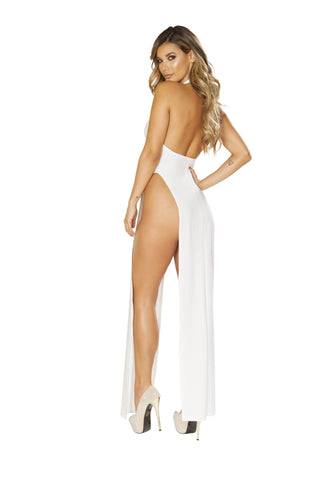 White Maxi Length Halter Neck Dress with High Slits-club wear-Roma Costume-Nakees